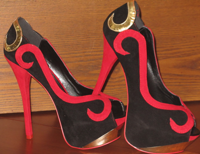 official photos 7efcd a9b70 Faux Suede Stiletto Red Bottoms Red/Gold Swirls